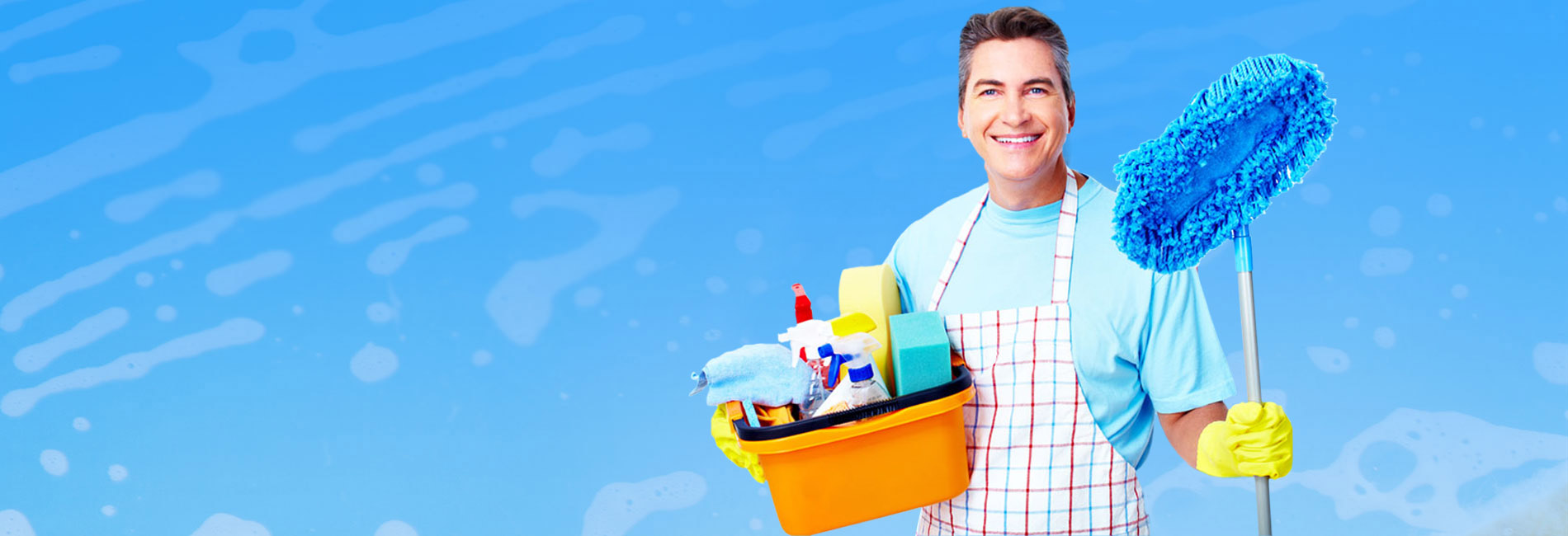 Man Carrying Janitorial Cleaning Supplies