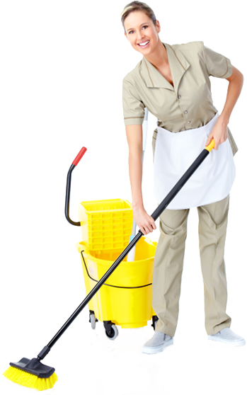 Lady Providing Janitorial Cleaning Service